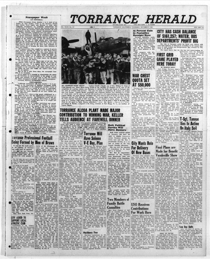 Article on the death of Sergeant Tanouye Torrance Herald Thursday, October 5, 1944