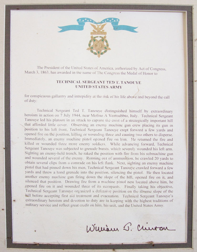 Technical Sergeant Ted T. Tanouye's Medal of Honor Certificate housed at the California National Guard Armory in Torrance, CA Photograph by Nancy Teramura Hayata
