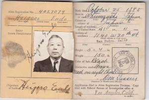 Alien Registration Card. The 1940 Alien Registration Act, a national security measure, required all aliens to be registered. Credit: The Endo family.
