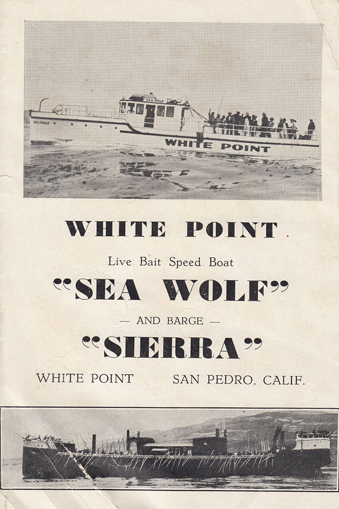 Front of a small card advertising Heigoro's sportfishing business at White Point, San Pedro. Credit: The Endo family.