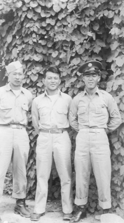 Front and back of a photo of (l to right) Sergeant Ted Tanouye, Jumbo Mochizuki and Akira Shimatsu. Photo provided courtesy of the Shimatsu and Tanouye Family
