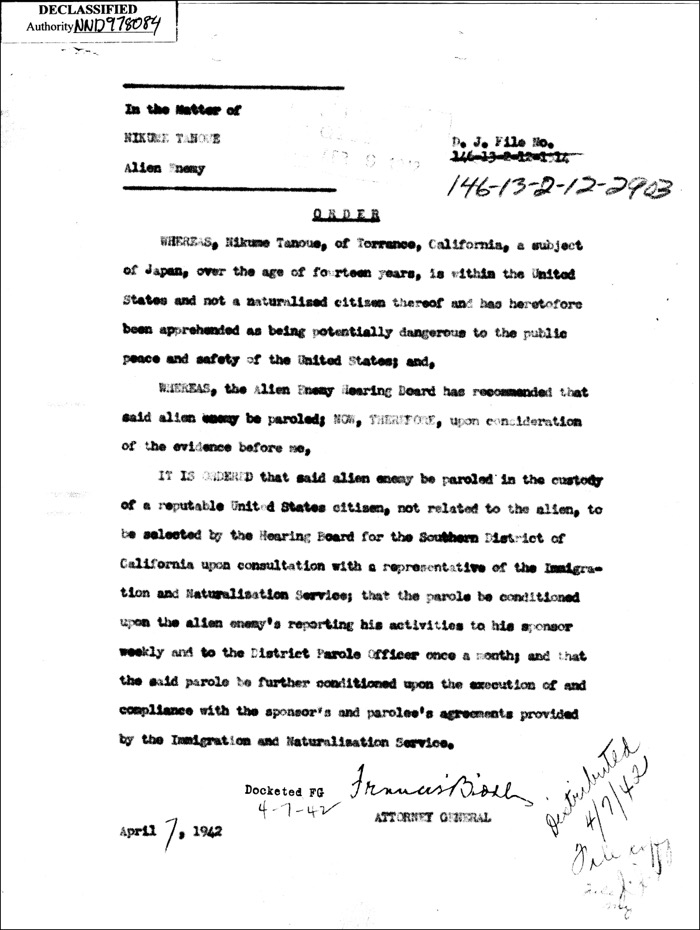 Nikuma Tanouye's parole release document from Tuna Canyon Detention Station From the National Archives at College Park