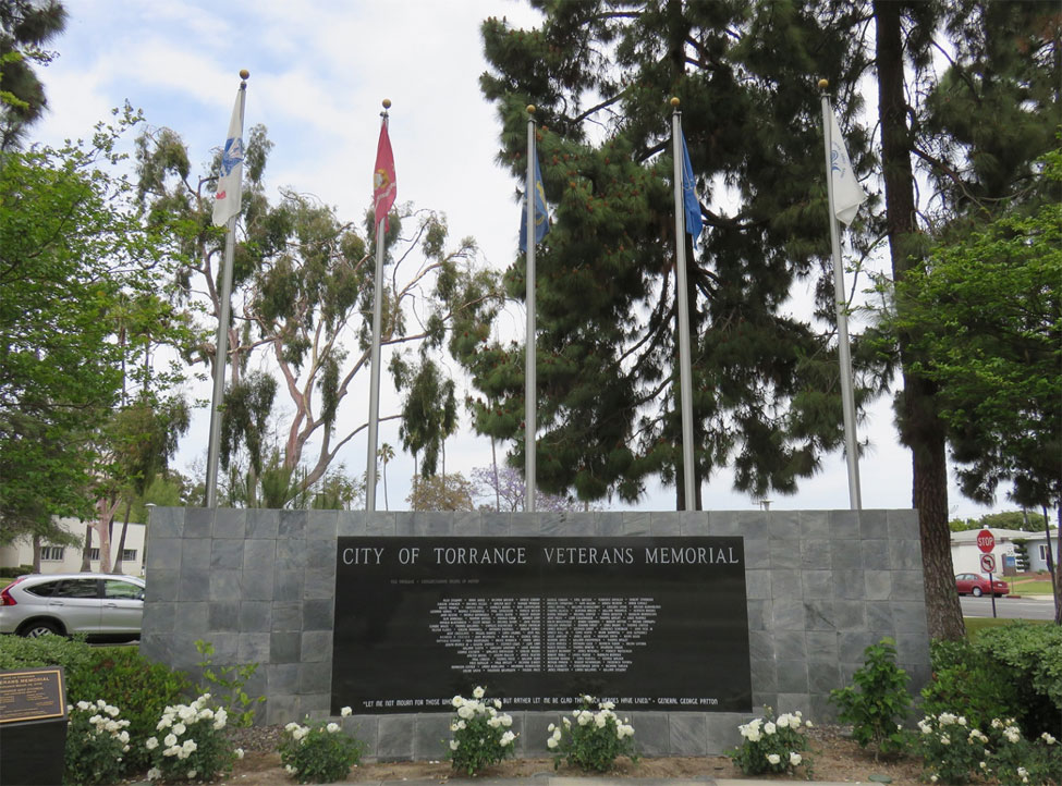 City of Torrance's Veterans Memorial Wall located at the corner of Maple and Torrance Blvd in Torrance, CA Ted Tanouye and Akira Shimatsu are among those listed. Photographs by Nancy Teramura Hayata