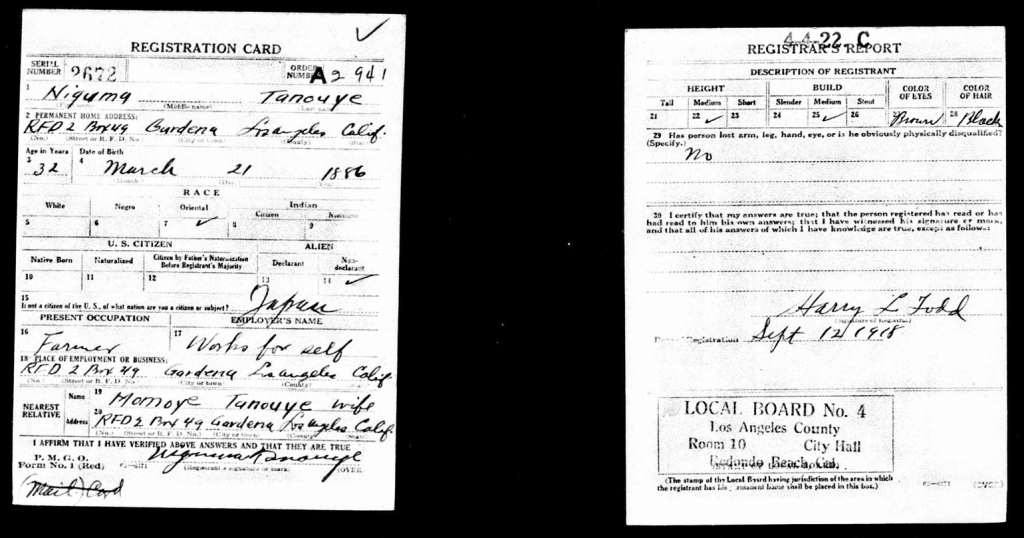 Copy of the WWI Registration Card for Nikuma Tanouye