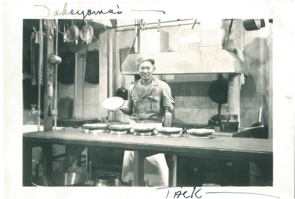 Tak working as a mess hall cook at Ft. Warren Wyoming in November of 1942 Photo provided courtesy of the Tanouye Family